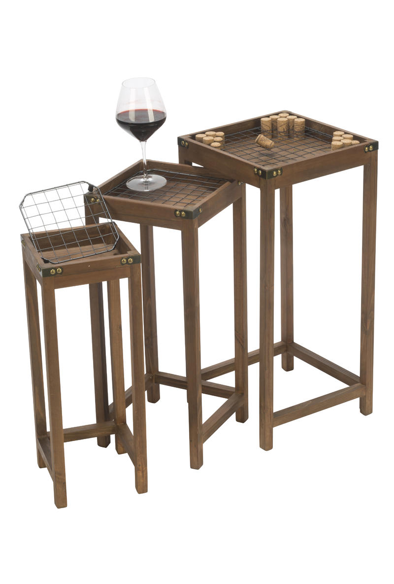 Vineyard Narrow Nesting Cork Display Tables, Set of 3