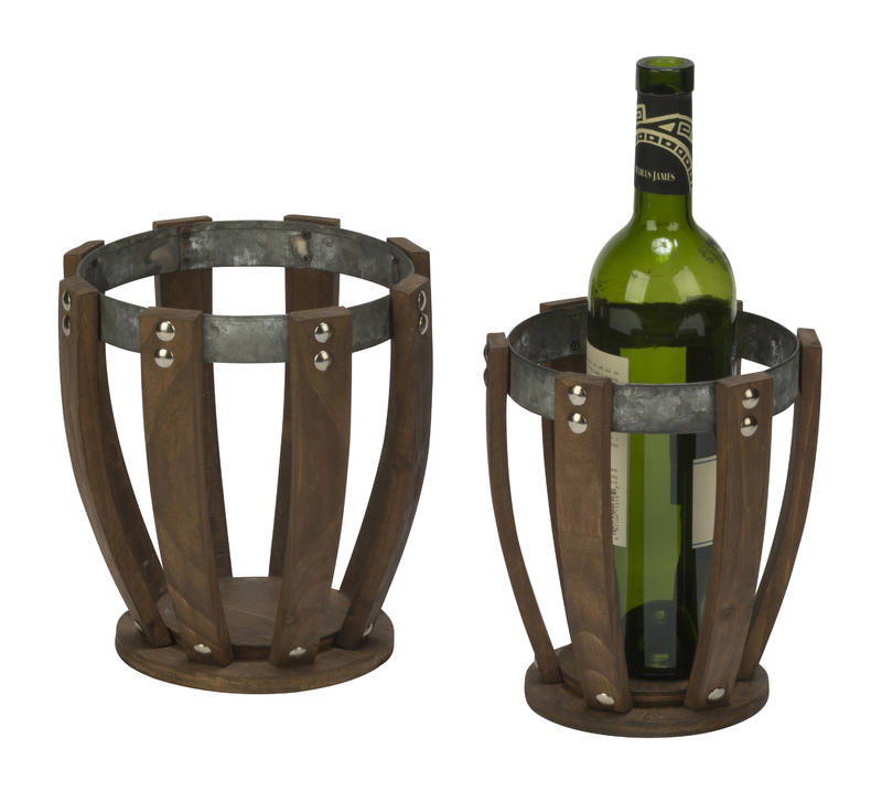 Wood and Metal Vase Set