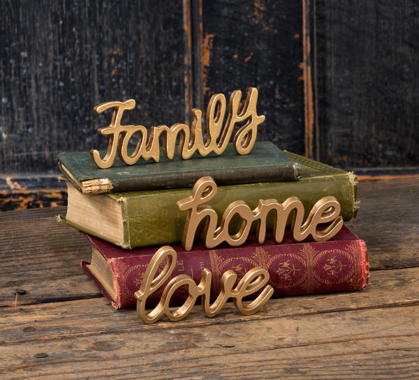 Gold Painted Pewter Paperweight Words