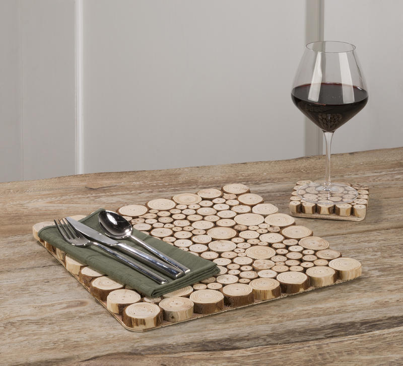 Wood Slice Placemat & Coaster