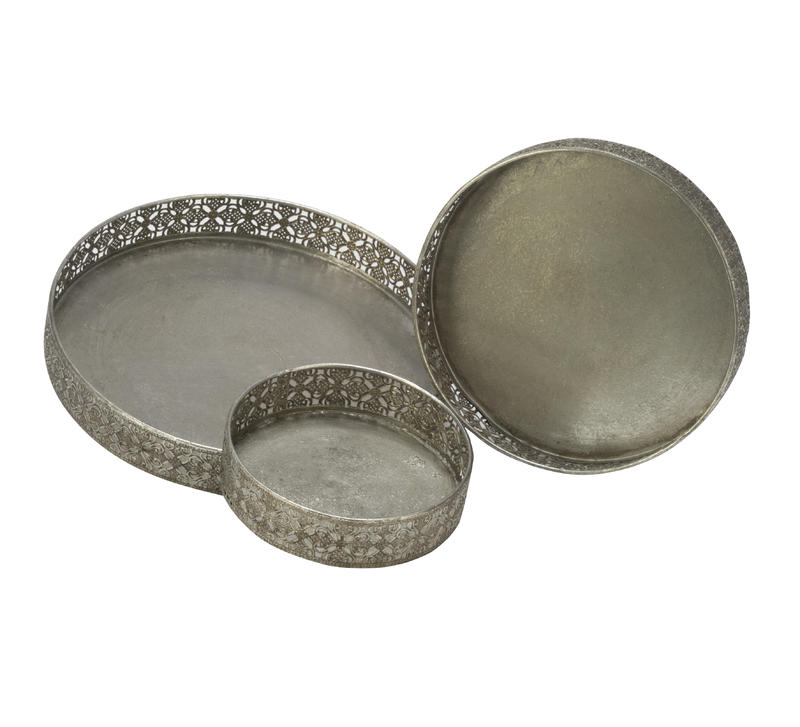 Elegant Metal Trays, Set of 3