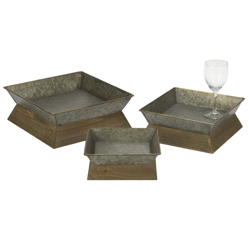 Metal Trays With Wooden Platforms - set of 3
