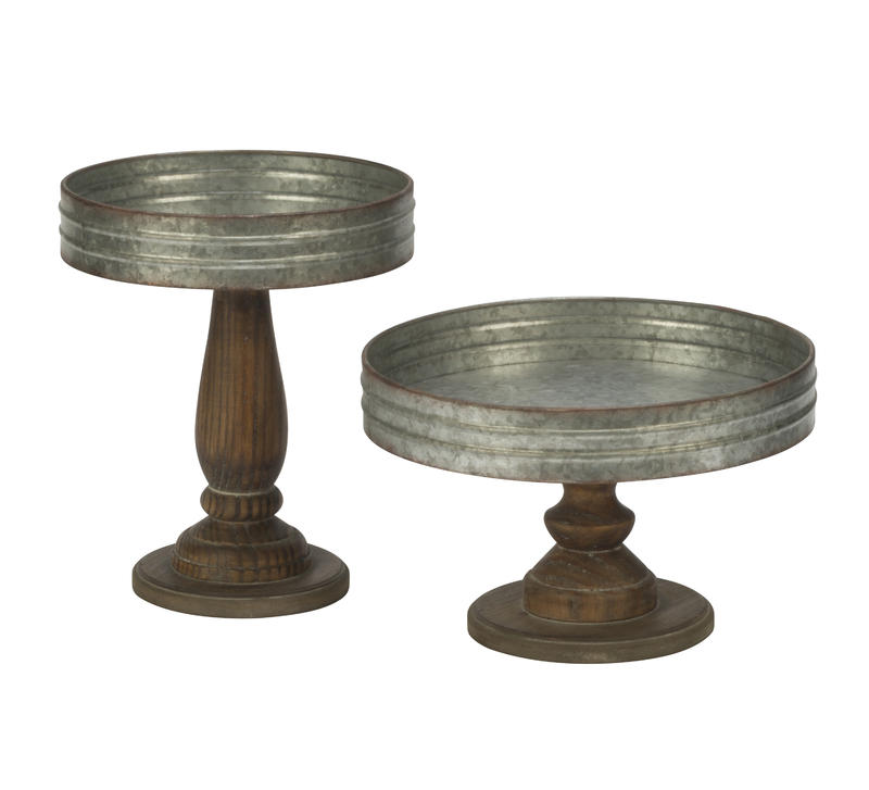 Decorative Wood and Metal Tiered Platforms (set of 2)