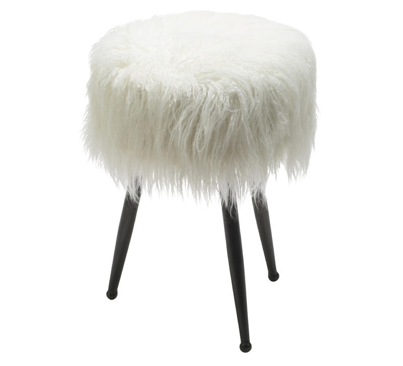 Faux Sheep Hair Stool in White