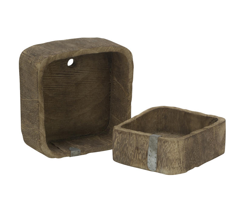 Wood Boxes with Metal Seam, Set of 2