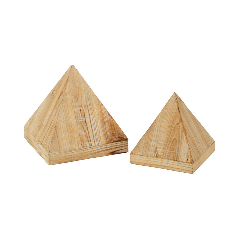 Wooden Triangle Jewelry Display Set of 2