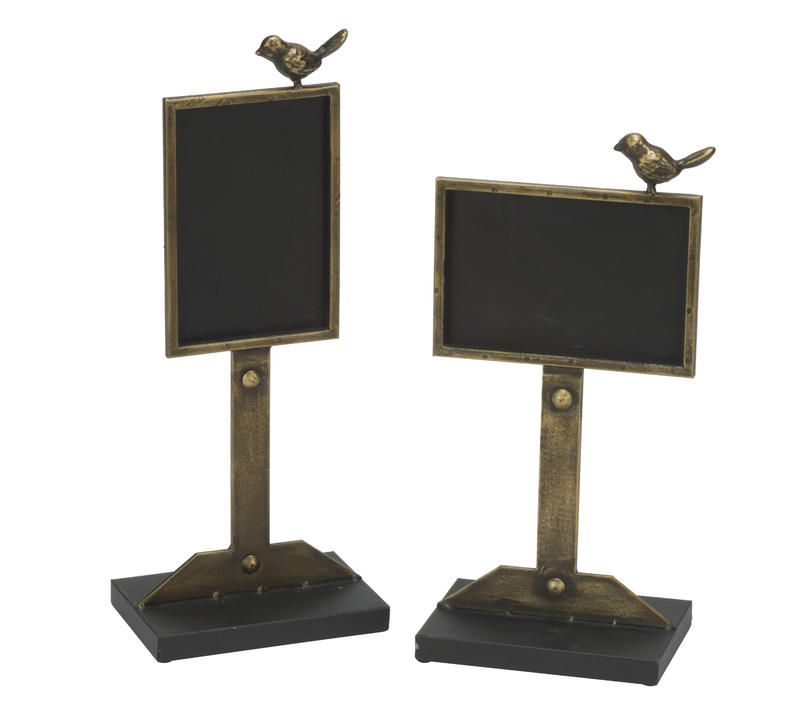 Decorative Chalkboard in Antique Gold Finish - 2 Piece Set