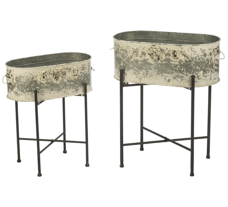 Weathered Metal Tub Stands
