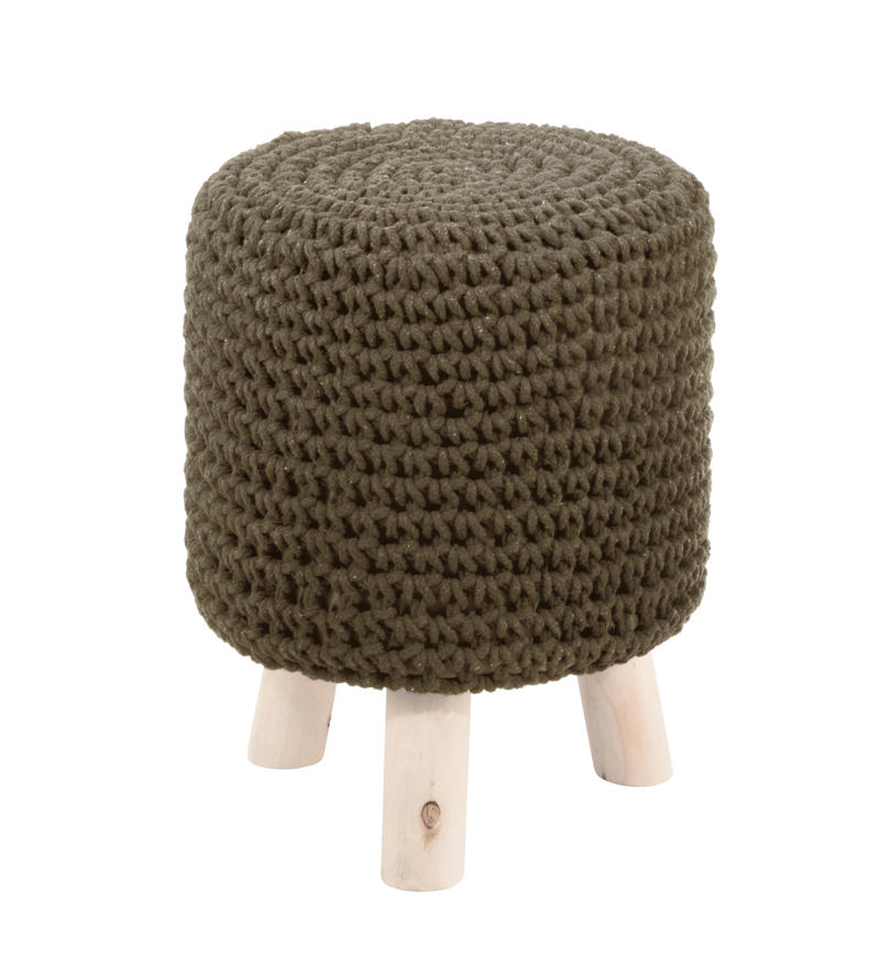 Small Green Knit Footstool