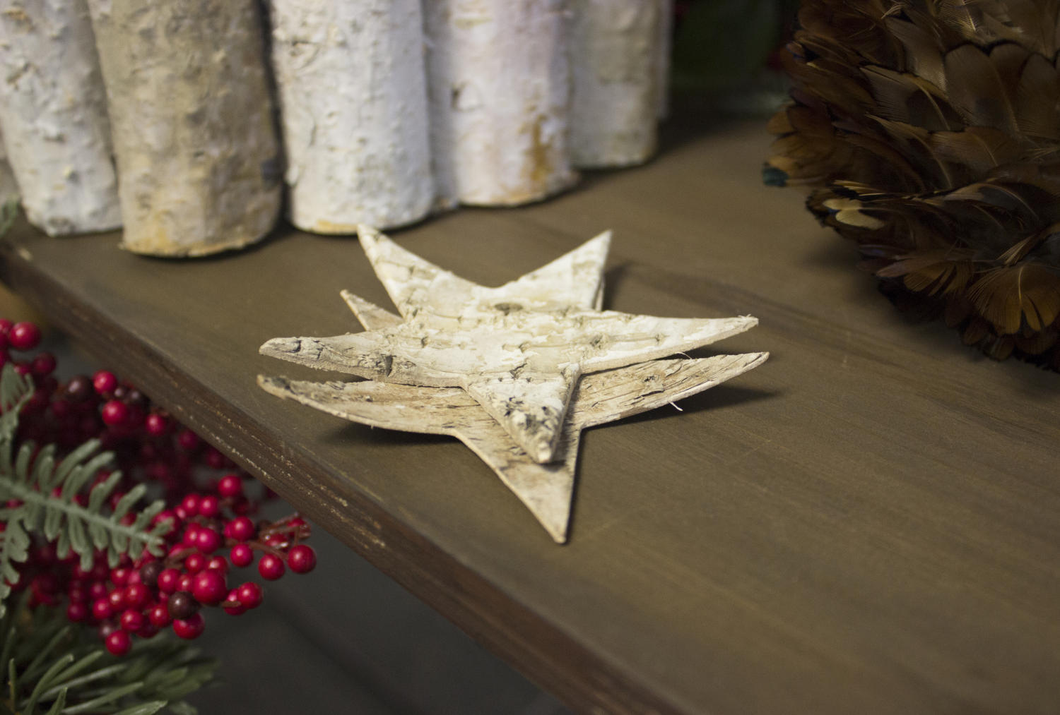Natural Birch Wood Stars, Set of 24