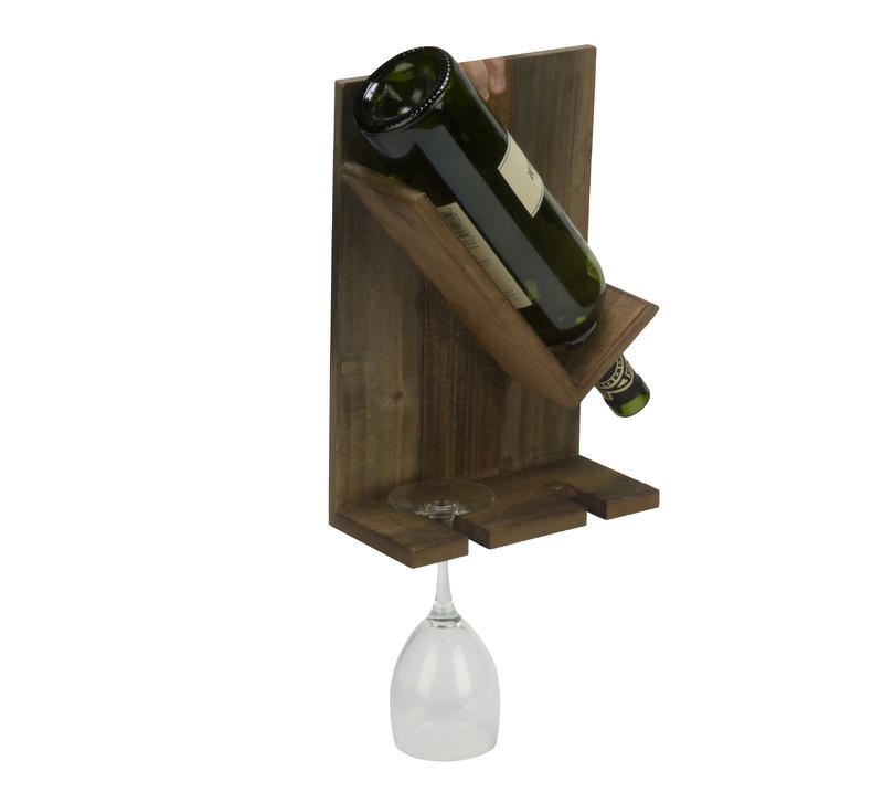 Wooden Wine Bottle and Glass Wall Decor