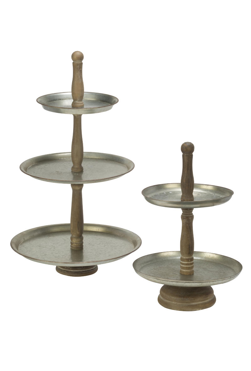 Metal & Wood Tiered Display Trays