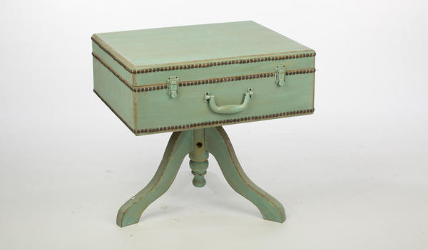 Suitcase Table with Hinged Lid