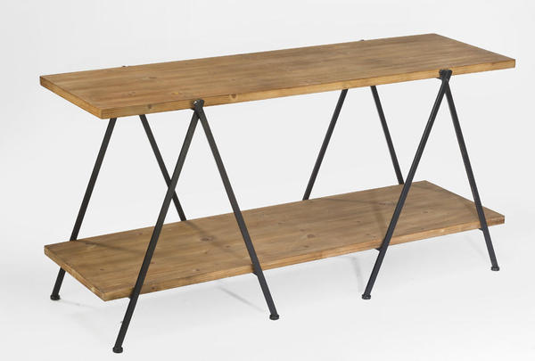 2-Tier Wooden Plank Table