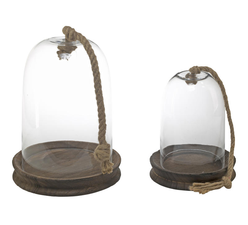 Large Glass Dome with Wood Base and Rope Handle