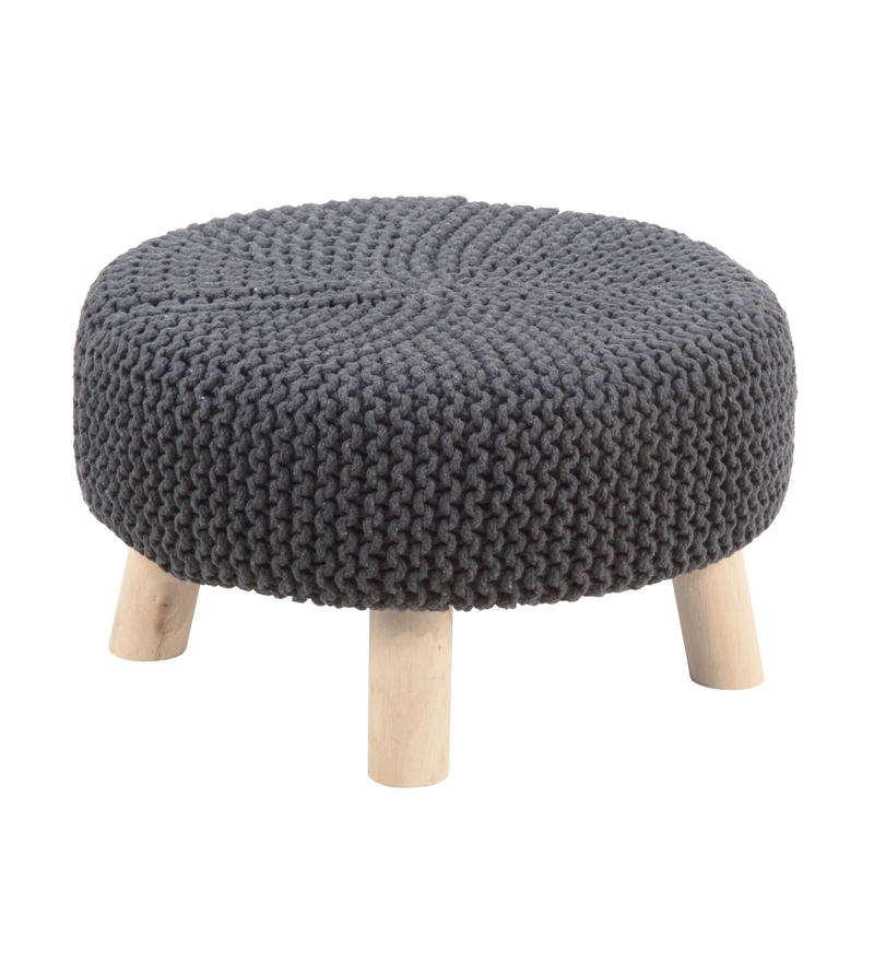 Grey Knit Footstool