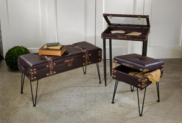Padded Suitcase Bench Tables