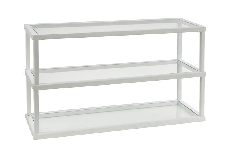 3 Tier Glass & Wood Frame Display Shelf