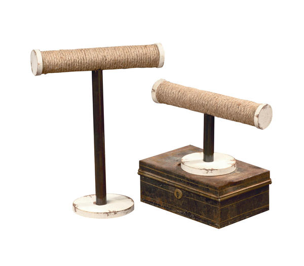 Large Jute T-Bar Jewelry Stand