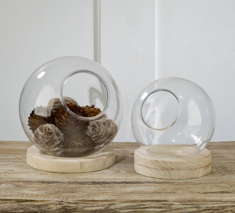 Food Safe Glass Globe with Natural Wood Base