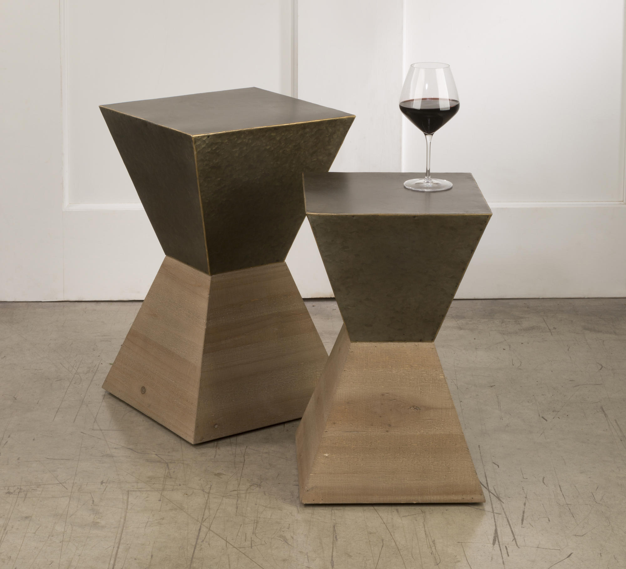Metal Hourgl Side Tables