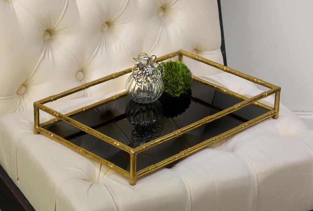 Gold Frame Amp Black Glass Vanity Tray Tripar