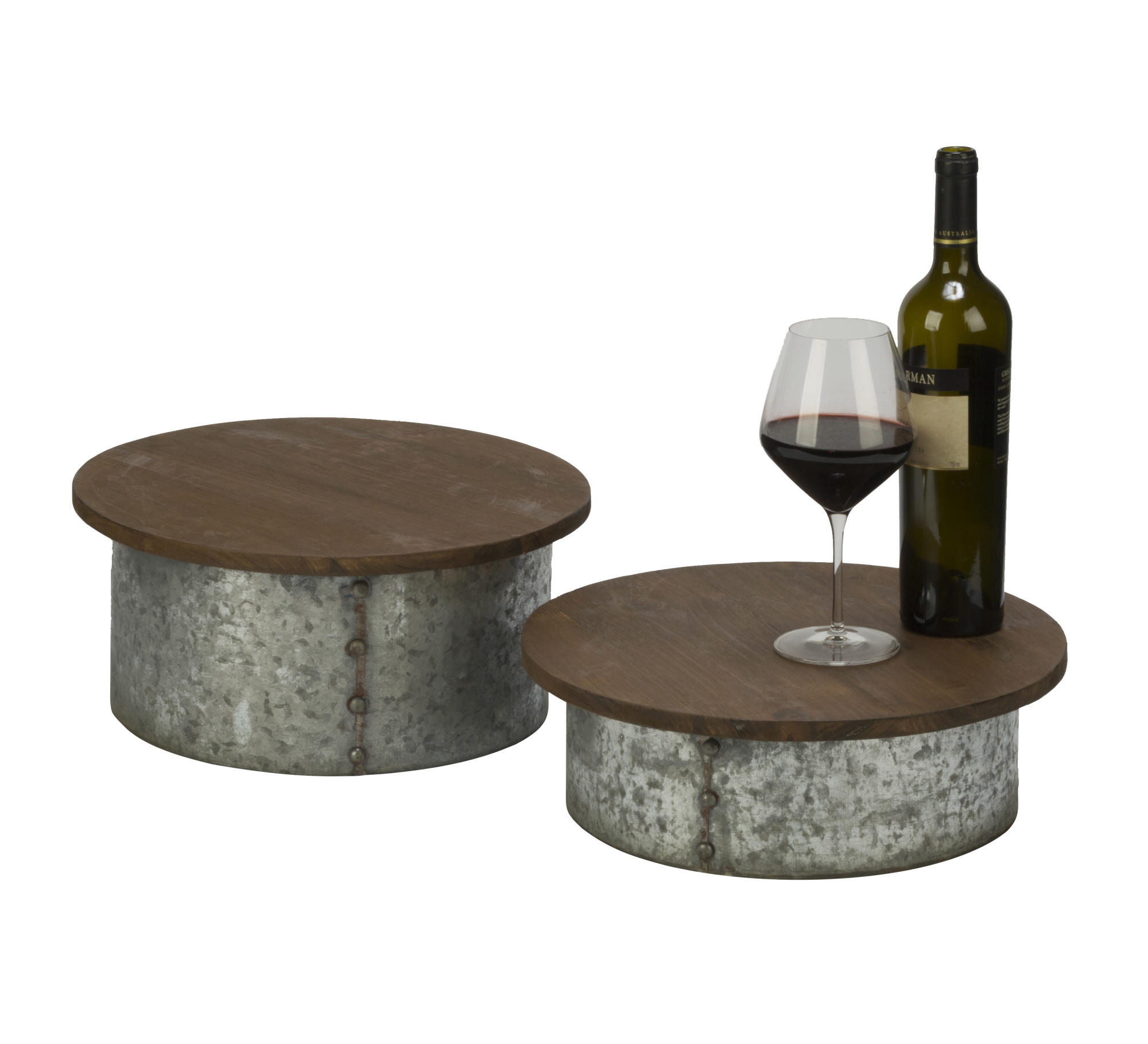 Set Of 2 Wood And Metal Buffet Risers