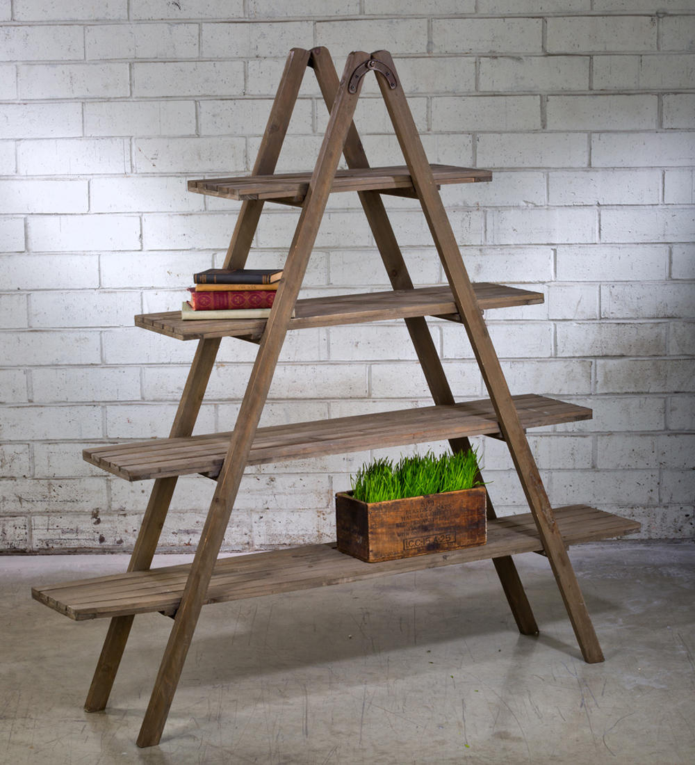 4-Shelf Wooden Display Ladder